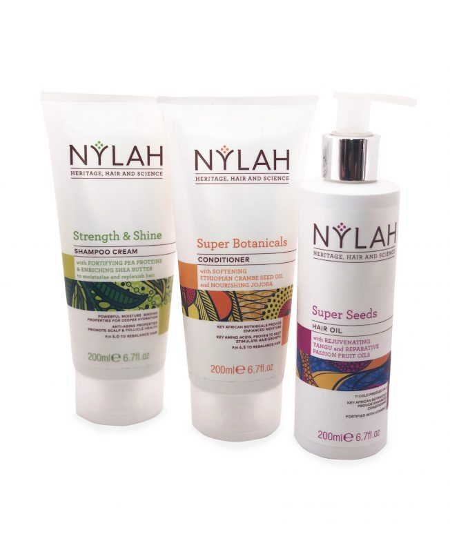 Nylah Naturals Strength and Shine Shampoo Cream, Super Botanical's Conditioner Wash and Super Seed