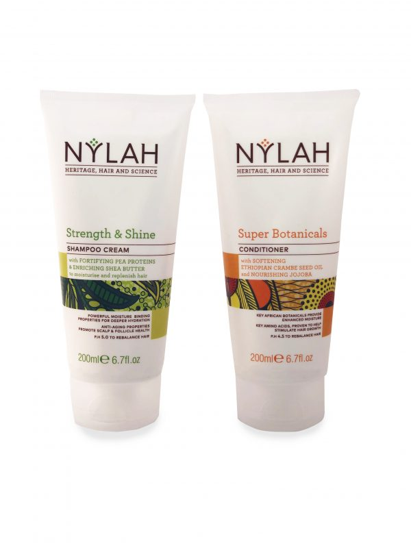 Nylah Naturals Strength and Shine Shampoo Cream and Super Botanical's Conditioner Wash Duo